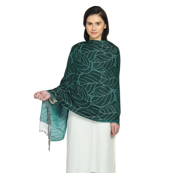 Emerald Green Viscose Rayon Woven Design Botanical Reversible Shawl