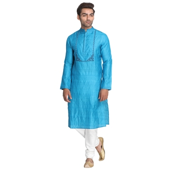 Blue embroidered silk men-kurtas