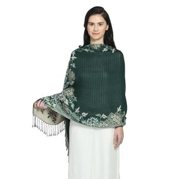Emerald Green Viscose Rayon Woven Design Floral Botanical Reversible Shawl