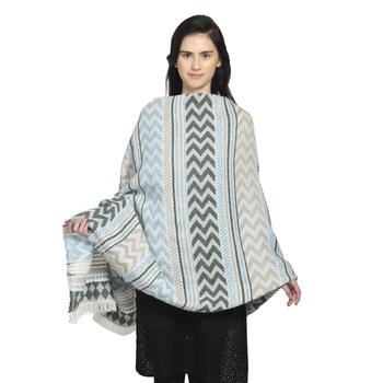 Light Blue & Grey Woollen Blend Woven Design Stripped Chevron Shawl