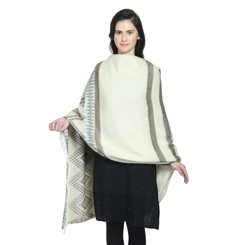 Natural & Grey Woollen Blend Woven Design Stripped Geometric Shawl