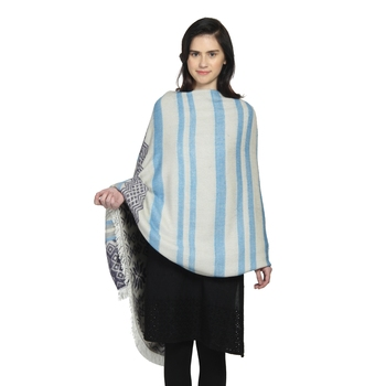 White & Blue Woollen Blend Woven Design Stripped Geometric Shawl