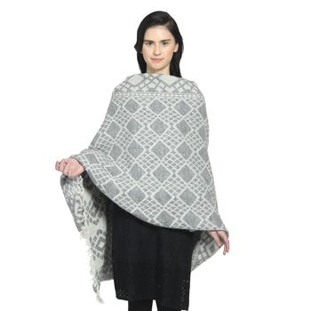 Grey Woollen Blend Woven Design Geometric Shawl