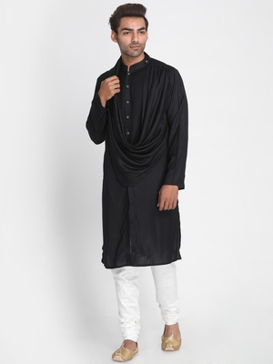 Black plain viscose rayon men-kurtas