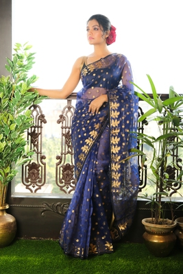 Blue woven blended cotton saree with blouse