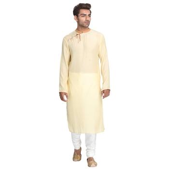 Yellow embroidered cotton silk men-kurtas