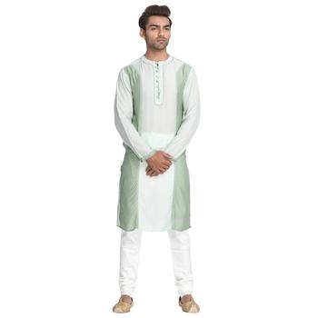 Green embroidered cotton silk men-kurtas