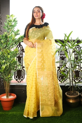 Light yellow woven blended cotton saree with blouse