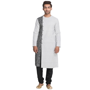 White printed cotton men-kurtas