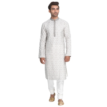 Grey printed silk men-kurtas