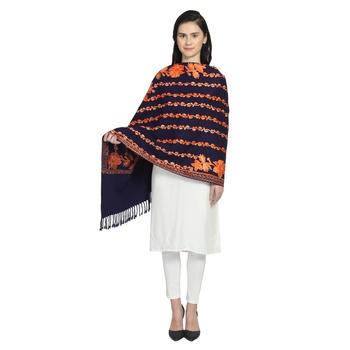 Navy & Orange Woollen Floral Geometric Embroidered Shawl