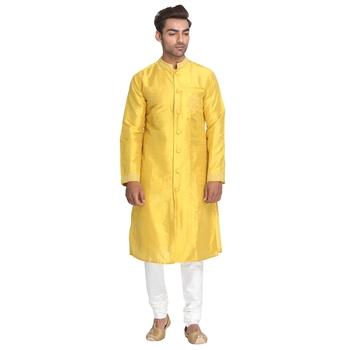 Yellow embroidered dupion silk men-kurtas