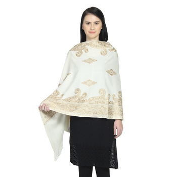 Natural & Gold Woollen Paisley Geometric Embroidered Shawl