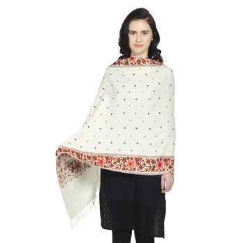 Natural & Multi Woollen Floral Polka Dot Hand Embroidered Shawl