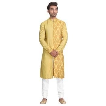 Yellow printed silk men-kurtas