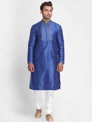 Blue embroidered dupion silk men-kurtas