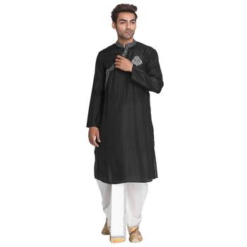 Black embroidered silk men-kurtas