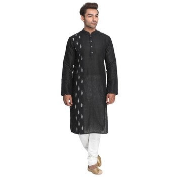 Black hand woven cotton men-kurtas