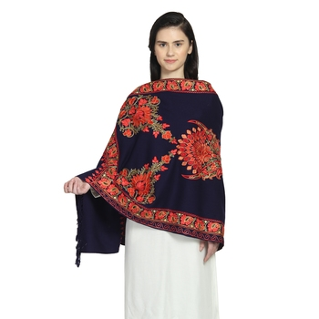 Navy & Multi Woollen Floral Paisley Hand Embroidered Shawl