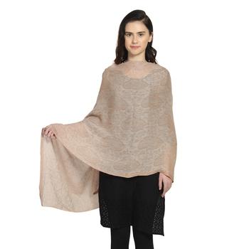 Beige Woollen Woven Design Paisley Shawl