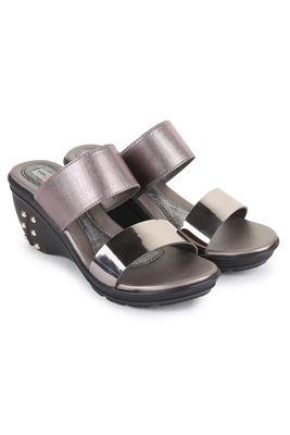 Beautiful Grey color synthetic material wedges for women's