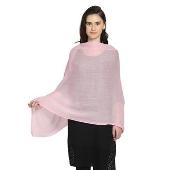 Pink Woollen Woven Design Paisley Shawl