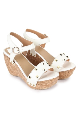 Beautiful White color synthetic material wedges for women's