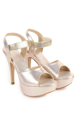 Beautiful Golden color synthetic material heels for women's