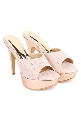Beautiful Pink color synthetic material heels for women's