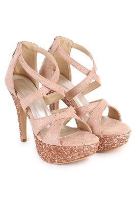 Beautiful Peach color synthetic material heels for women's