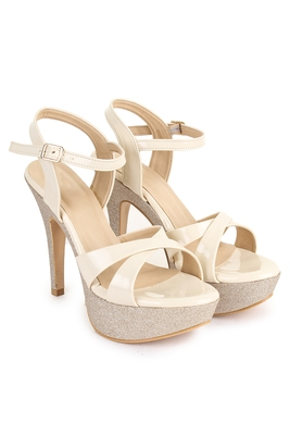 Beautiful Cream color synthetic material heels for women's
