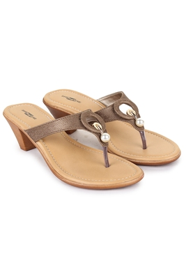 Beautiful Tan color synthetic material heels for women's