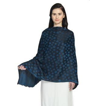 Blue & Black Modal Woven Design Polka Dot Reversible Shawl