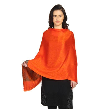 Bright Orange Modal Woven Design Paisley Shawl