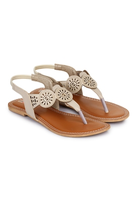Beautiful Cream color synthetic material flats for womens