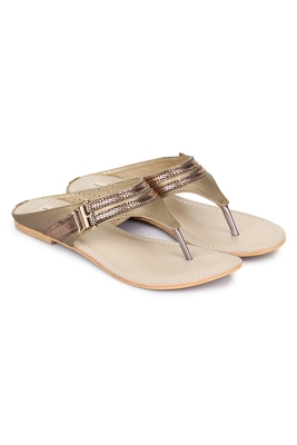 Beautiful Copper color synthetic material flats for womens