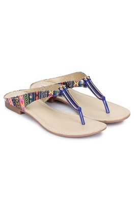 Beautiful Blue color synthetic material flats for womens