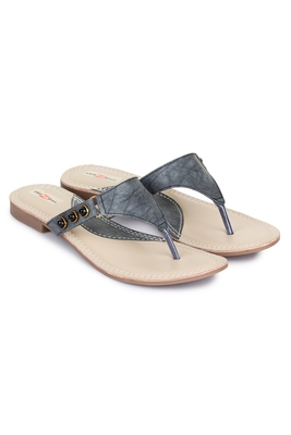 Beautiful Grey color synthetic material flats for womens