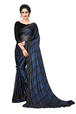 Blue Plain Lycra Designer Saree With Blouse