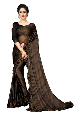 Brown Plain Lycra Designer Saree With Blouse