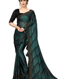 Green Plain Lycra Designer Saree With Blouse