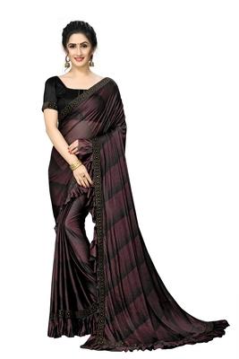 Maroon Plain Lycra Designer Saree With Blouse