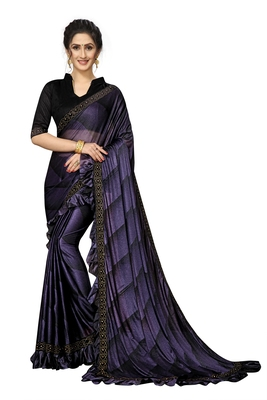 Purple Plain Lycra Designer Saree With Blouse