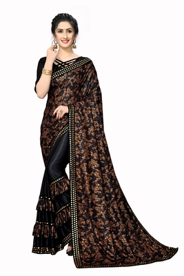 Black Plain Lycra Designer Saree With Blouse