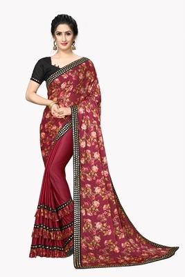 Red Plain Lycra Designer Saree With Blouse