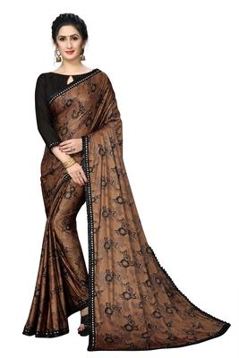 Brown Plain Lycra Designer Saree With Blouse