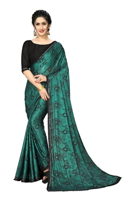 Green Plain Lycra Designer Saree With Blouse
