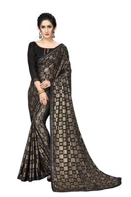 Black Plain Lycra Designer Saree With Blouse