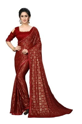 Red Plain Lycra Designer Saree With Blouse
