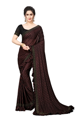 Maroon Plain Lycra Designer Saree With Blouse